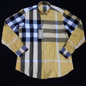 BURBERRY BRIT MEN YELLOW CASUAL SHIRT